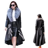 womens leather trench coat new style mink fox fur mid length fashionable leather coat with detachable fur collar