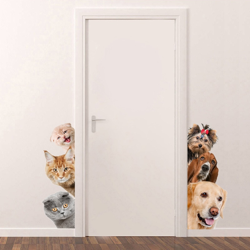 Pegatinas de pared perro gatito simulación 3D sala de estar dormitorio porche esquina decoración pegatinas impermeable papel pintado extraíble