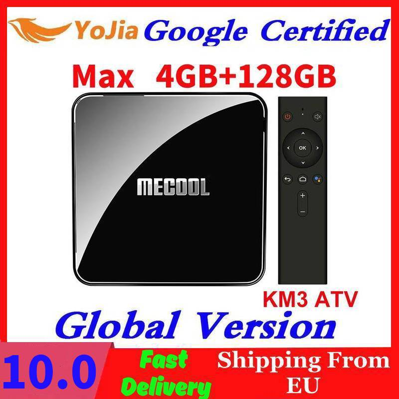 MECOOL KM3 Android 10.0 TV Box Google Certified Androidtv 9.0 4GB RAM 64GB ROM 128GB Amlogic S905X2