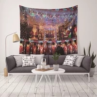 yaapeet 1pc christmas wall hanging christmas deer printed wall tapestry for party polyester house pattern hanging tapestry