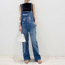 Korean Japan Style Chic Denim Jumpsuit Pockets 2021 Summer Fashion Overalls Street Wear Long Jean Wo