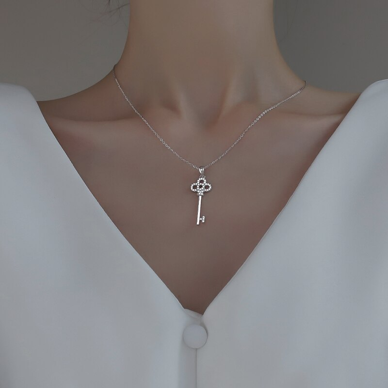 925 Sterling Silver Key Necklace for Women Niche Design Light Luxury 2020 New Ins Cold Style 2021 Cl