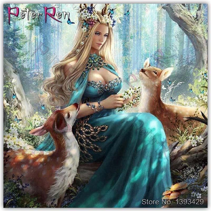 Cuadro de diamantes completo paisaje chica ciervo el bosque diosa y el ciervo punto de cruz cuadrado/bordado de diamantes redondos Peter ren