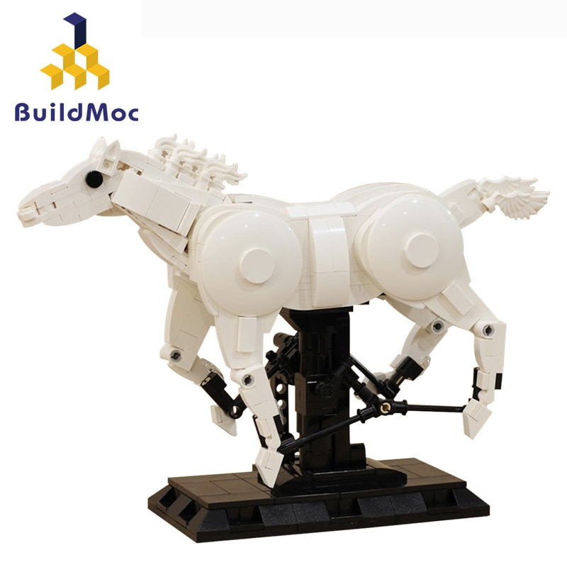 Creator Military Galloping War Horse Decoration Toy Kids Animals Fairy Tale prince Bricks White Gift Model Building Blocks Toys