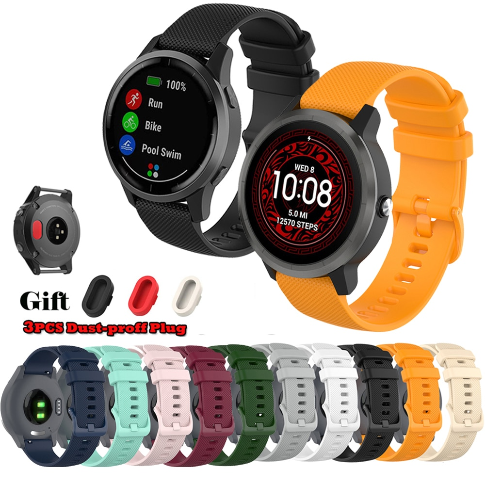 Wrist Strap For Garmin Venu Vivoactive 3 Silicone Band Replacement Watch Strap With Dustproof Plug F