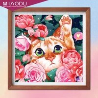 cute big eyes kitten with roses in the garden 5d diamond painting cross stitch kits embroidery art mosaic resin home decor gifts