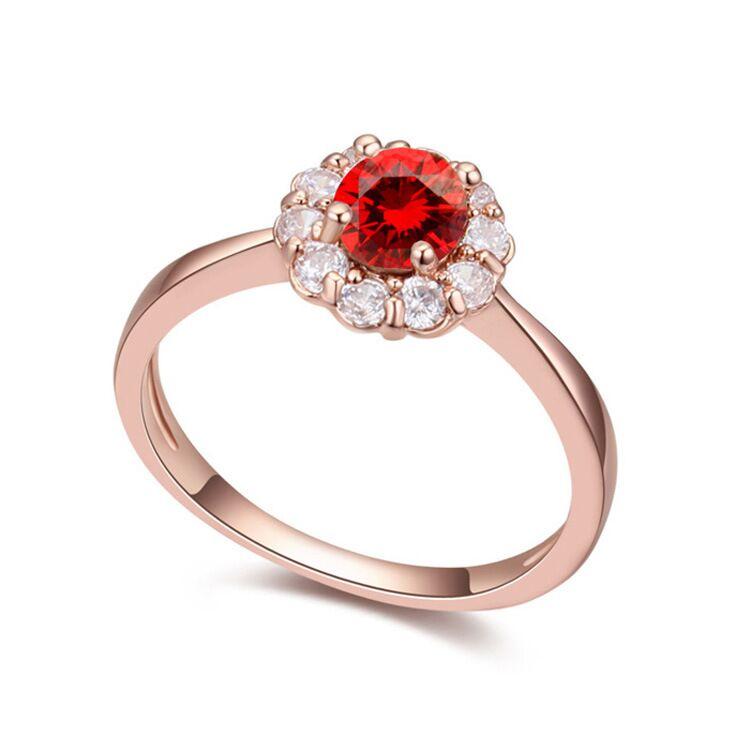 Rosa nuevo anillo de Color dorado clásico temperamento exquisito modelos femeninos sol flor incrustada circón mano joyería compromiso artículo