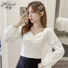 2021spring Korean Style New Fashion Slim Fit Slimming off-Shoulder Top Temperament Versatile Long Sl