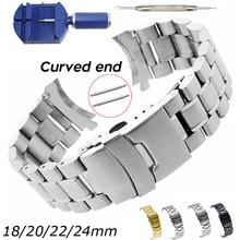 Bracelet de montre avec outils, extrémité incurvée bracelet de montre, 18mm 20mm 22mm 24mm, bracelet de rechange à Double verrou en acier inoxydable