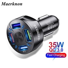 Car USB Charger Quick Charge 3.0 4.0 Universal 35W Fast Charging in car 4 Port mobile phone charger