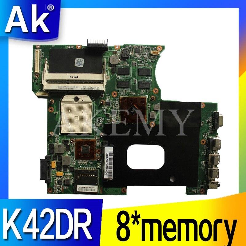 Akemy لFor Asus K42DY A42D X42D K42DR K42D K42DE Loptop اللوحة Mainboard مع بطاقة فيديو 8 * ذاكرة اختبار العمل بنسبة 100٪
