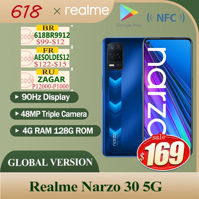 2021 Новый realme Narzo 30 5G глобальная версия 4 Гб 128 NFC Dimensity 700 48MP тройной Камера 5000 мА/ч, 90 Гц Дисплей