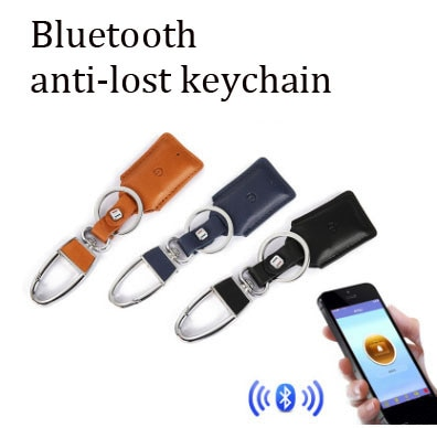 Chave do Carro Chave Inteligente Anti-perdido Localizador Carro Anel Couro Case Bluetooth Dispositivo Chaveiro Presente