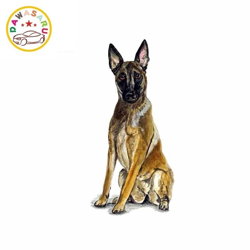 Etiqueta engomada del coche de Pastor Belga perro Malinois policía rescate perro policía gráfico pegatina PVC para coche pegatina impermeable 13cm * 6cm