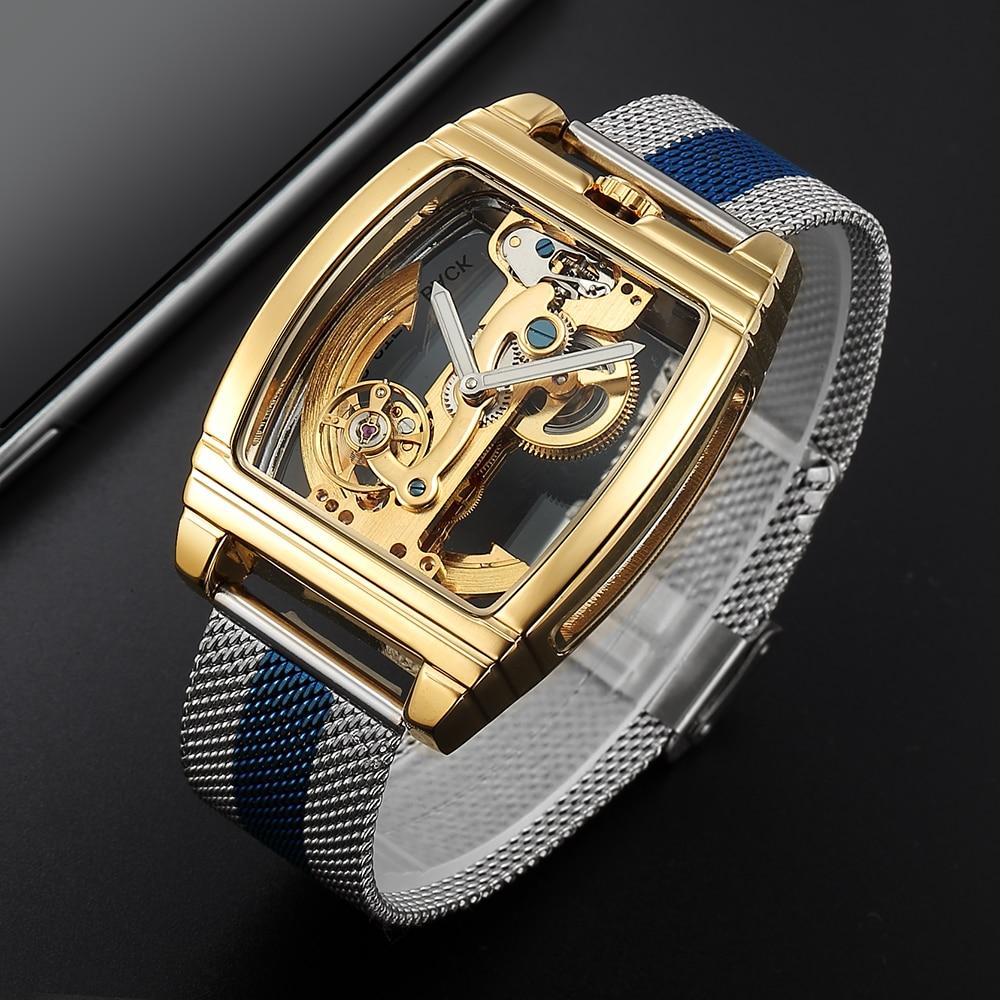 ساعة يد رجالية ميكانيكية وأوتوماتيكية ، كلاسيكية ، شفافة ، هيكل عظمي ، سوار شبكي من الفولاذ المقاوم للصدأ