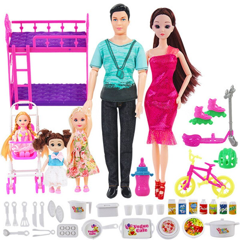 6 People Family Doll Suits Mom/ Dad/ Son Baby/ Kelly/Carriage Girls Toys Fashion Pregnant Doll Kid T