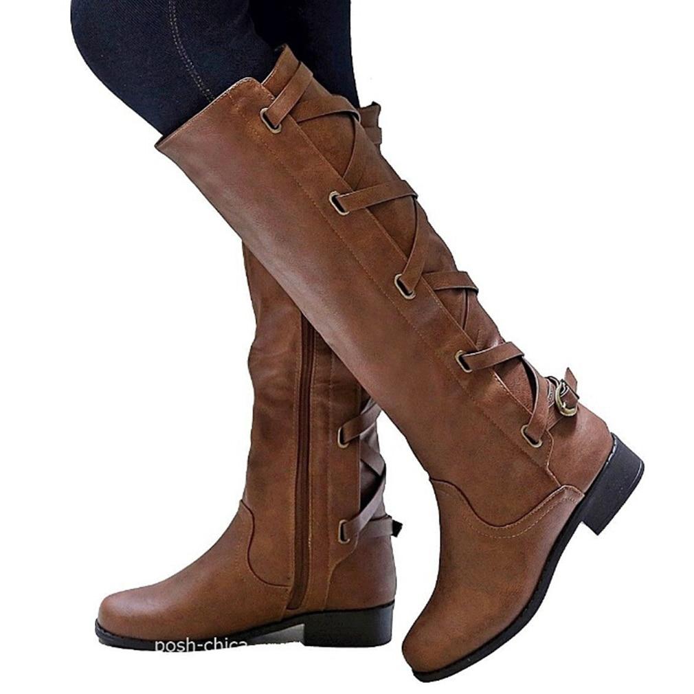 Женские сапоги до колена; Сапоги на толстом каблуке, на застежке-молнии, украшенные кружевом; Женская обувь на шнуровке; С пряжкой; Модные женские туфли в стиле «панк» Для женщин размера плюс, Прямая поставка