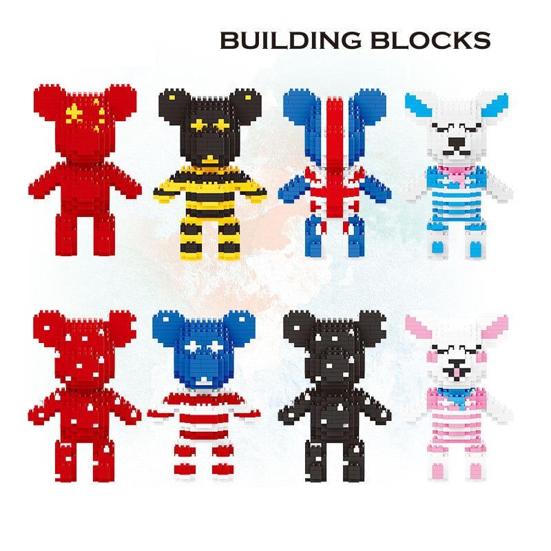 Popular Cartoon micro diamond block Rabbit Strawberry china Britain U.S.A Painting bear build brick nanobrick toy bearbricks