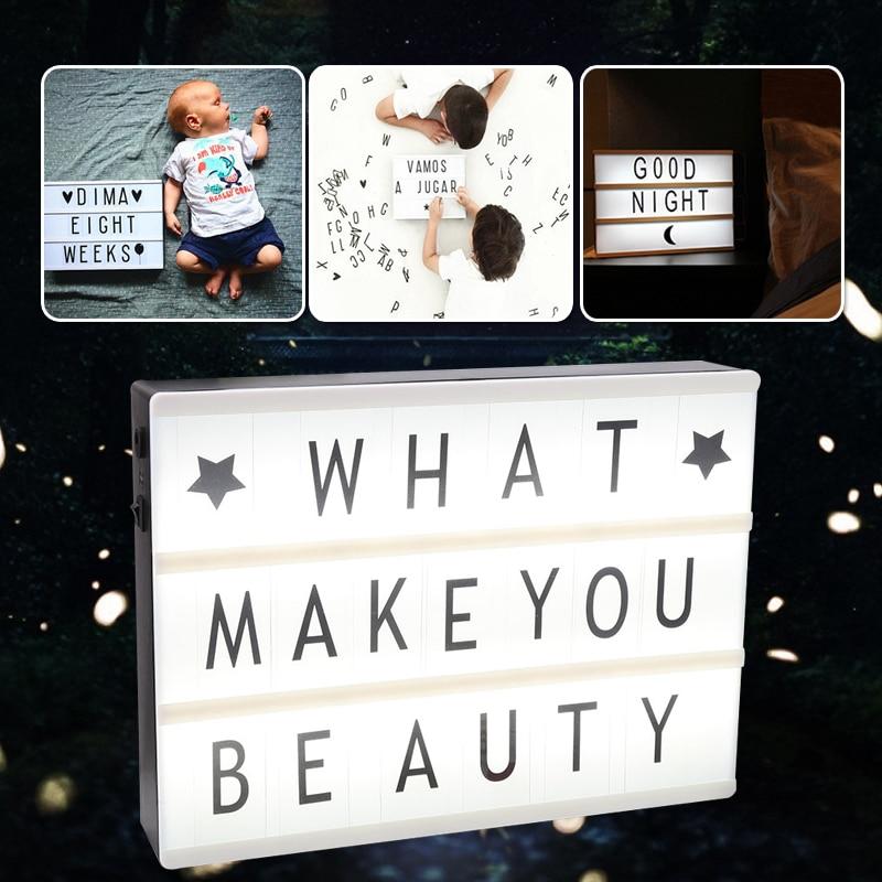 Luz Led romántica caja de lámpara cinemática caja de luz cinemática decoración de boda regalos de fiesta DIY lindo con 90 letras A4