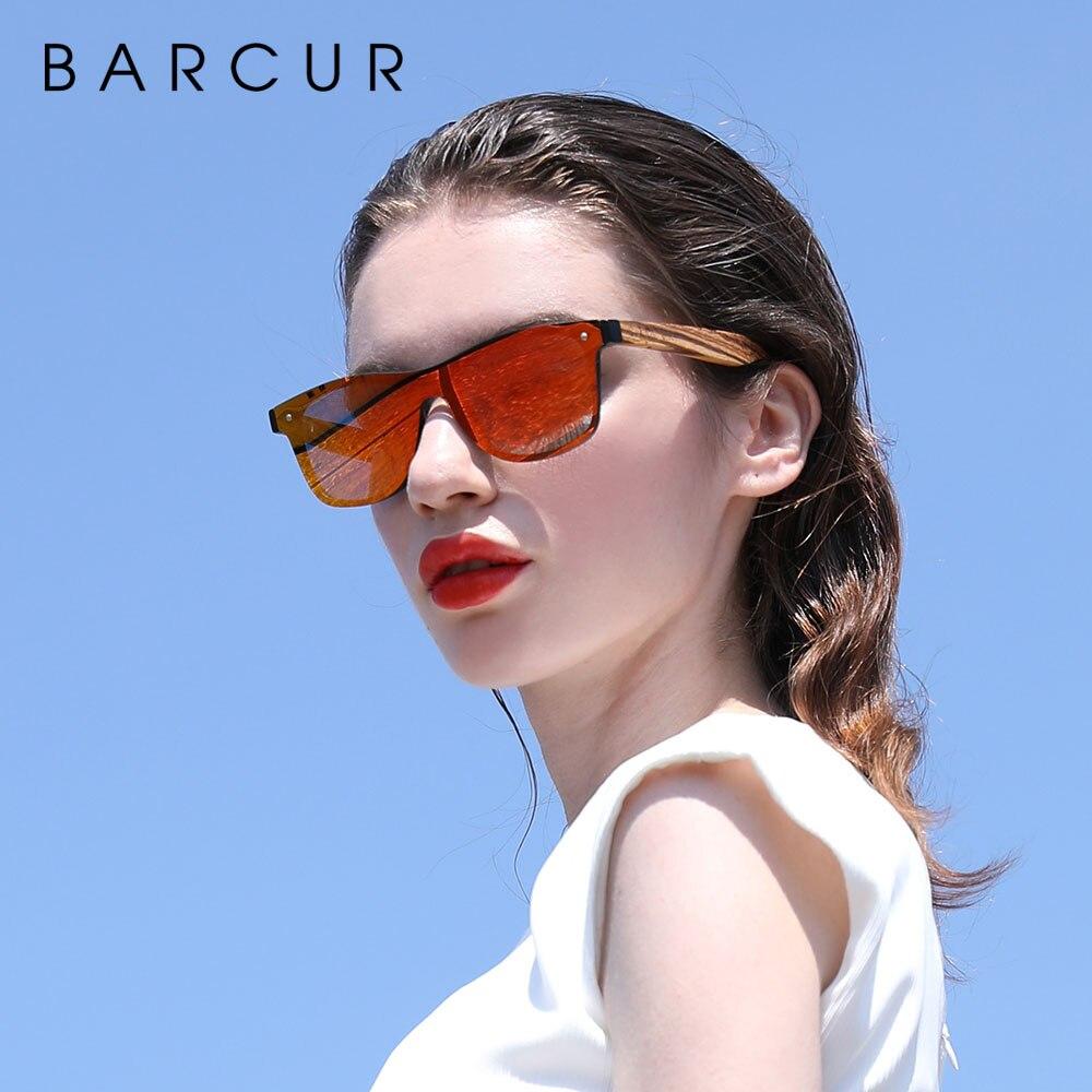 BARCUR, Gafas de sol polarizadas de madera con diseño de cebra, Estilo Vintage, Gafas de sol para hombre con montura plana sin montura cuadrada, Gafas de sol para mujer
