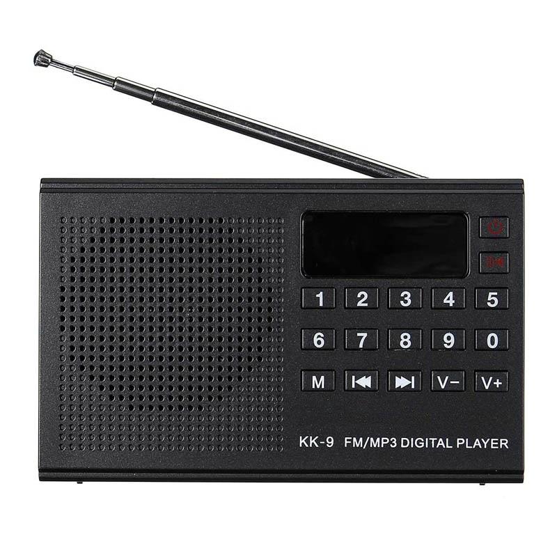 Nuevo reproductor MP3 KK-9 Radio FM Digital portátil tarjeta TF disco U reproductor de música Tarjeta de altavoz de carga USB Radio antigua
