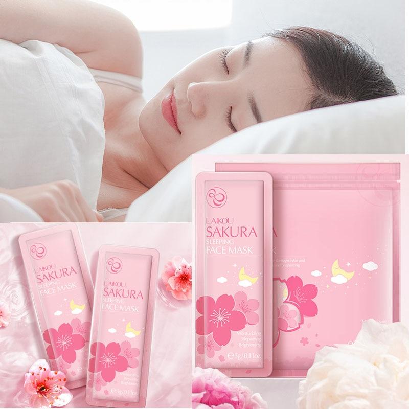 LAIKOU Sakura Moisturizing Sleeping Face Mud Mask Anti wrinkle Night Facial Packs Moisturize Anti-Aging skin Hydrating