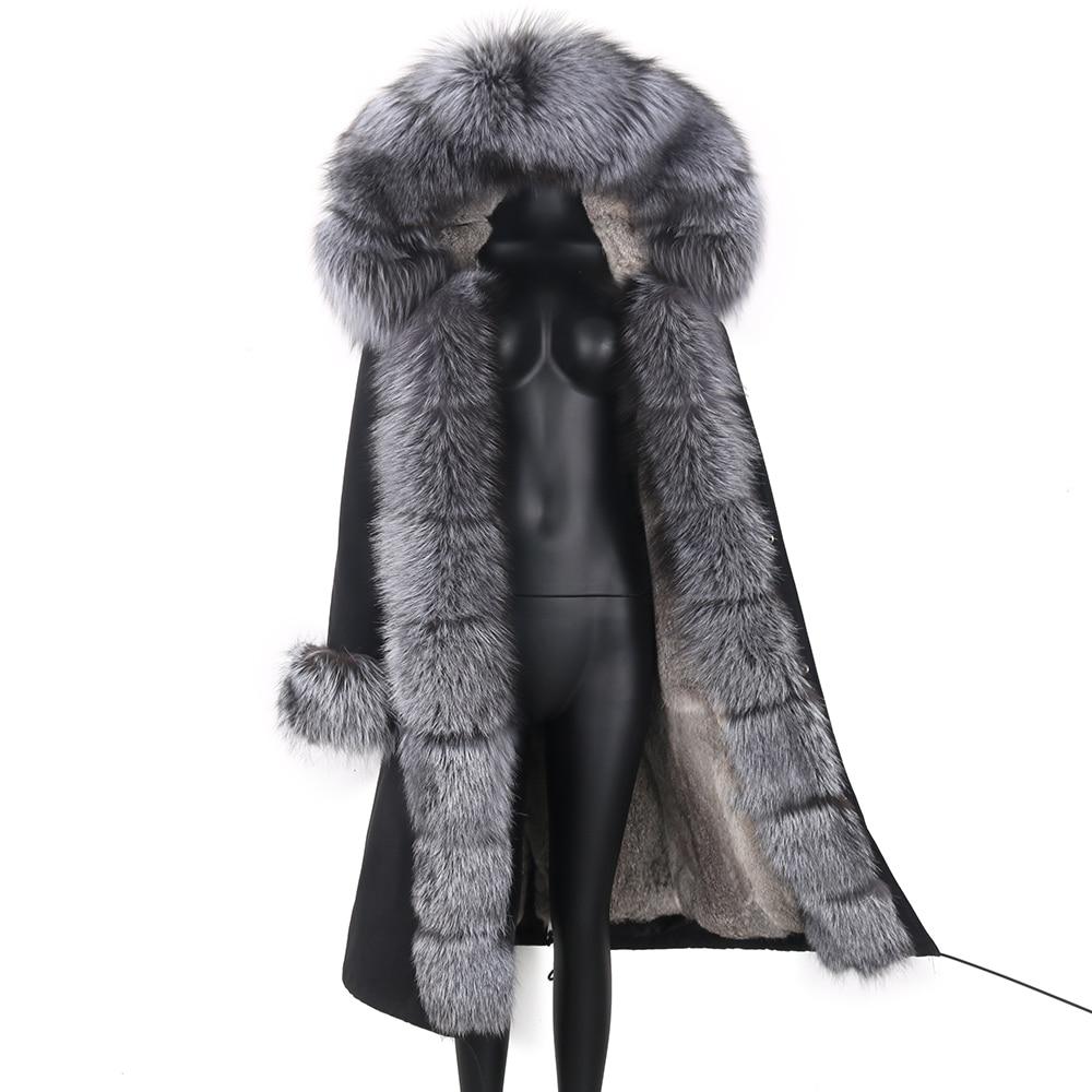 Женская длинная парка со съемным мехом, черная непромокаемая парка со съемным натуральным лисьим мехом на капюшоне, верхняя одежда, зима 2021