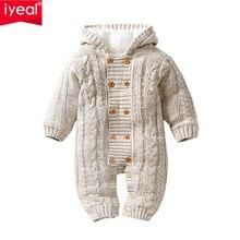 IYEAL-barboteuse épaisse et chaude   Pull-over pour nourrissons, combinaison avec capuche, vêtements dextérieur pour tout-petits