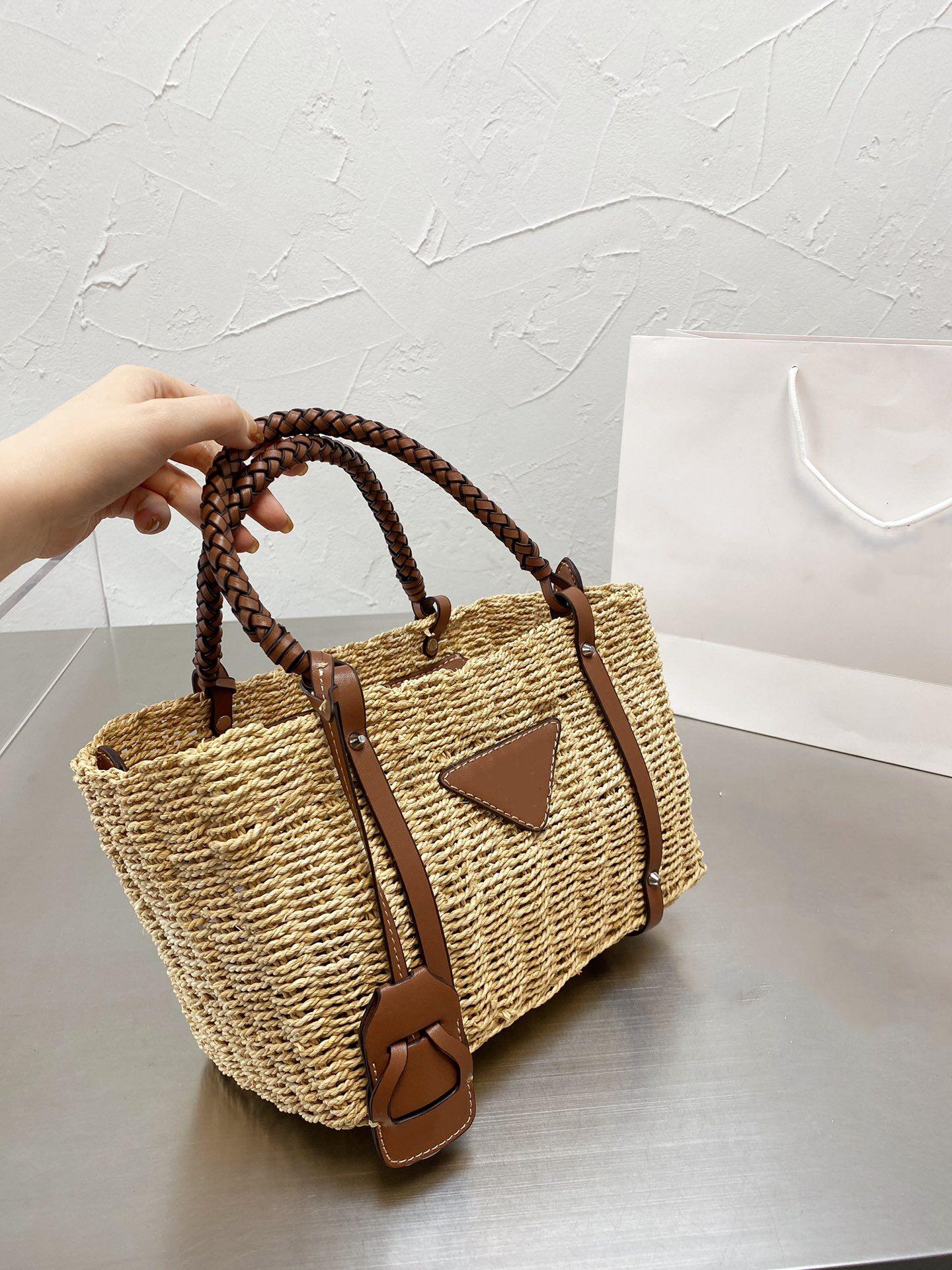Men's and women's handmade straw woven bag classic vegetable basket bag large capacity handbag