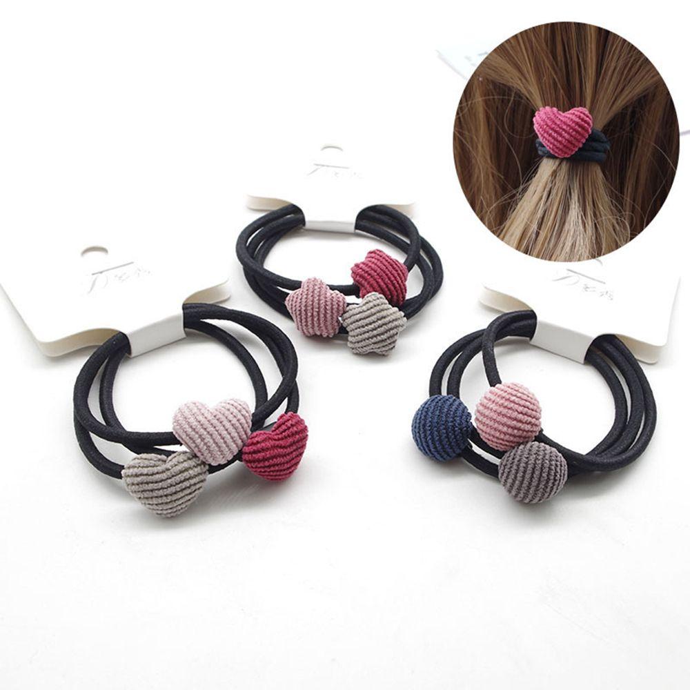 3pcs/set Fashion Girl Star Heart Round Geometry Hair Rope Cloth Buckle Simple Hair Elastic Hair Rubber Bands Accessories