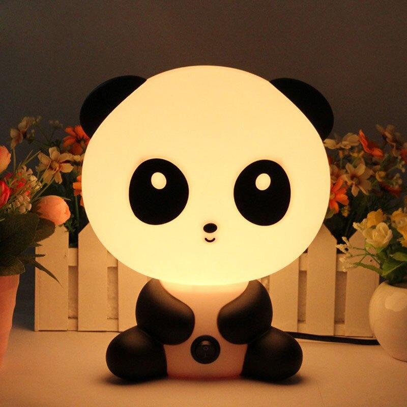 Lindo Panda noche luz bebé habitación lámparas de luz de la noche de dibujos animados mascotas dormir Decoración Led Bombilla de la lámpara lámparas de mesa para el regalo de los niños EA