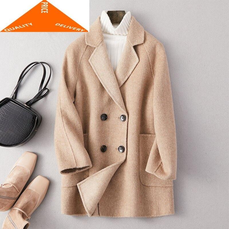 Abrigo elegante invierno Mujer Abrigo Mujer 2020 ajustadas coreanas 20% lana Abrigos...