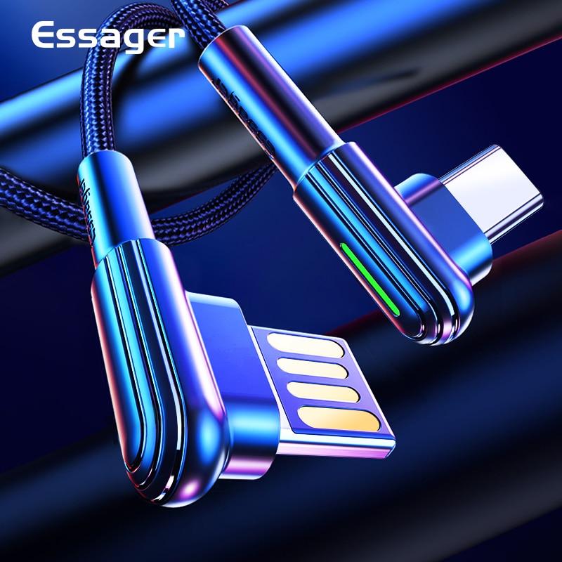 Essager 90 Degrés Câble USB Type C Pour Samsung Xiaomi Redmi Note 10 3A Charge Rapide Fil Cordon USBC Chargeur Câble De Téléphone Portable