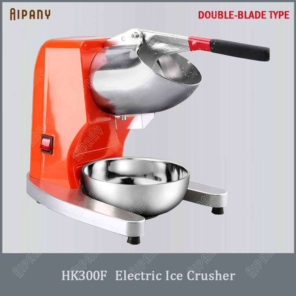 Hk300f elétrico triturador de gelo barbeador lâmina dupla máquina quebra bloco gelo smoothie neve cone fabricante cubo gelo moedor processador