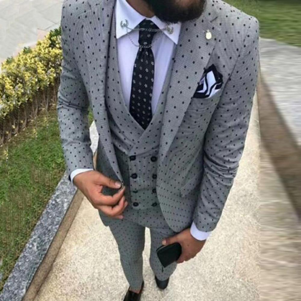 Мужские костюмы в горошек, 3 предмета, мужские костюмы, повседневные Костюмы для работы в офисе, деловые костюмы для свадьбы (Блейзер + жилет +...