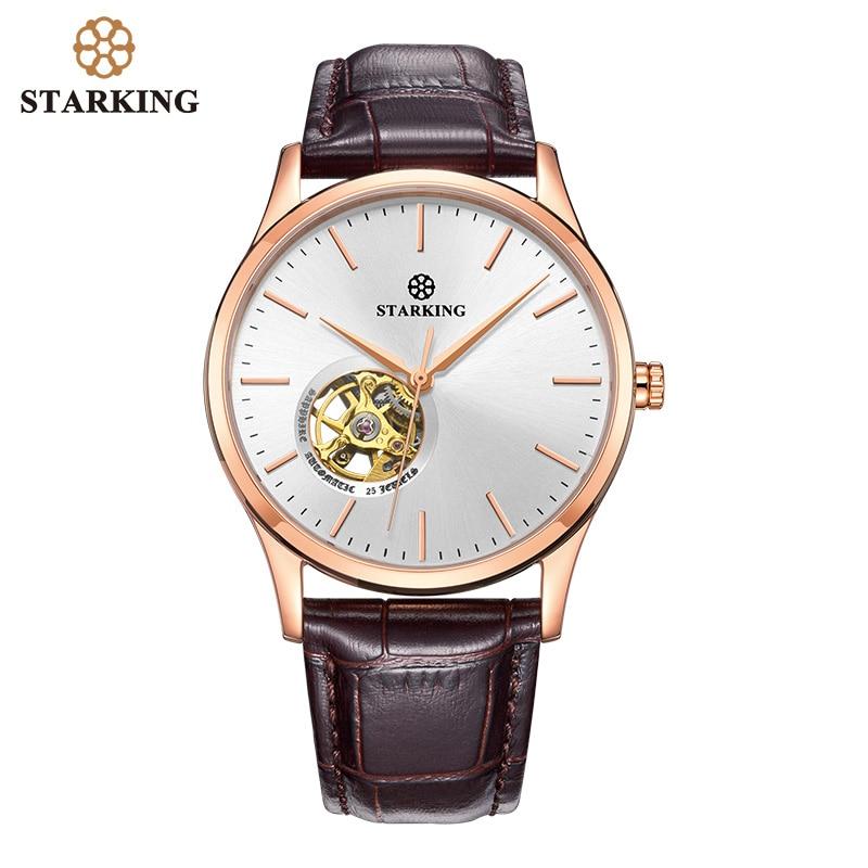 STARKING-ساعة رجالية ميكانيكية ، أوتوماتيكية ، ذاتية الملء ، ساعة يد رجالية ، ستانلس ستيل ، ياقوت أزرق ، 5ATM