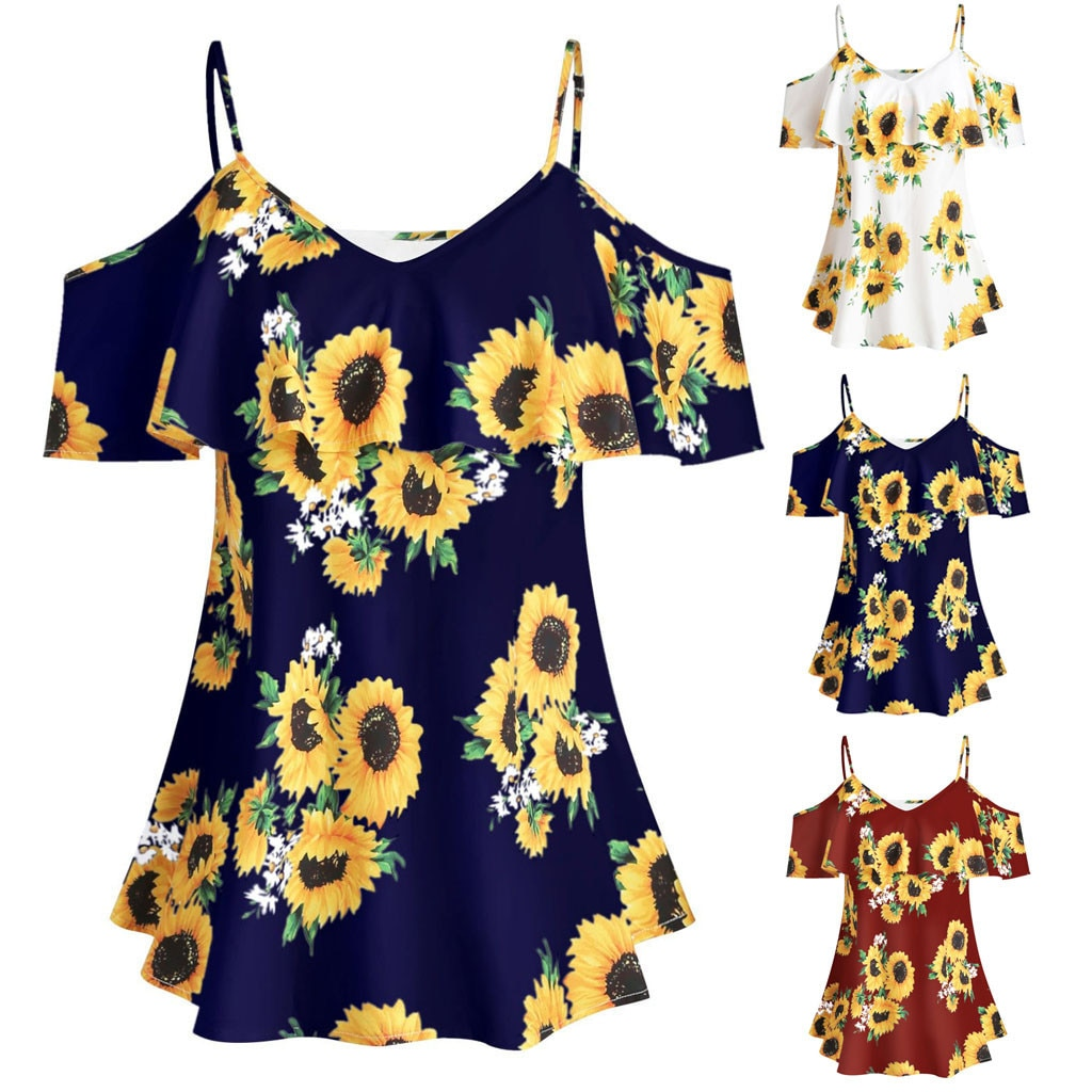 Blusas De talla grande para Mujer, estampado De girasoles, Camis De manga corta con volantes, blusa De hombros descubiertos, Blusas De Moda para Mujer 2020