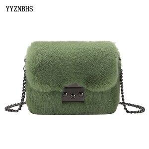 Plush Messenger Bag Chain Crossbody Bag Fashion Faux Fur Winter Bags Women Shoulder Bags Small Flap Lady Purse bolsa feminina