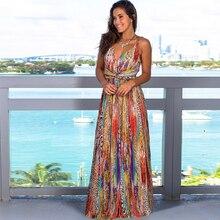 2020 New Summer Women Cotton V-Neck High Quality Beach Dress Female Fashion Casual Printing Stitching Big Swing Dress QX75