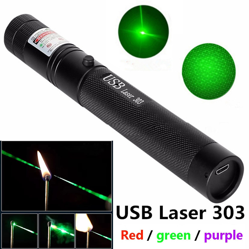 Portable high-power laser equipment USB rechargeable laser purple red ultra far 10000m 5MW adjustabl