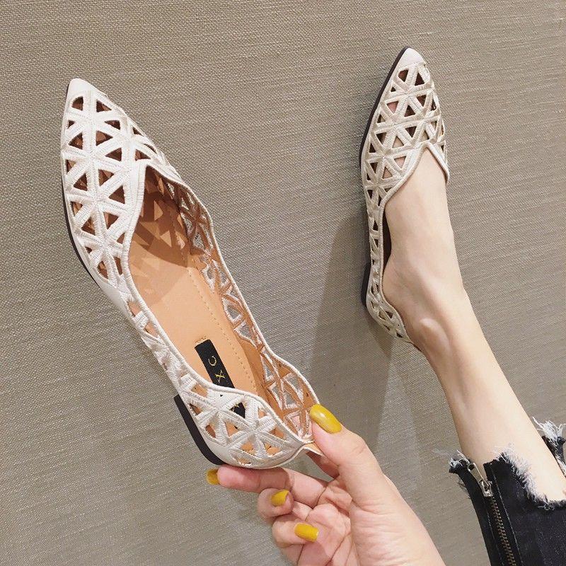 الجوف خارج أشار تو الشقق امرأة الفم الضحلة حذاء مسطح للنساء أنيقة الصيف لينة المتسكعون المرأة موجزة الانزلاق على الأحذية