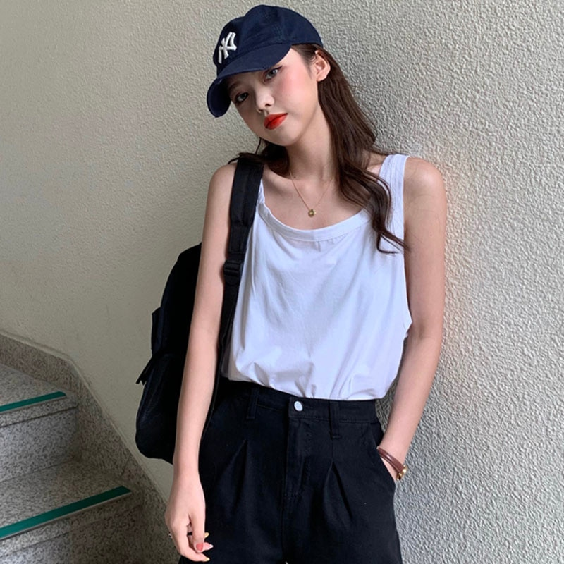 White Chic Collarbone Bottoming Camisole Women's Ins Inner Wear Sneaky Design Sleeveless Sexy Top Su