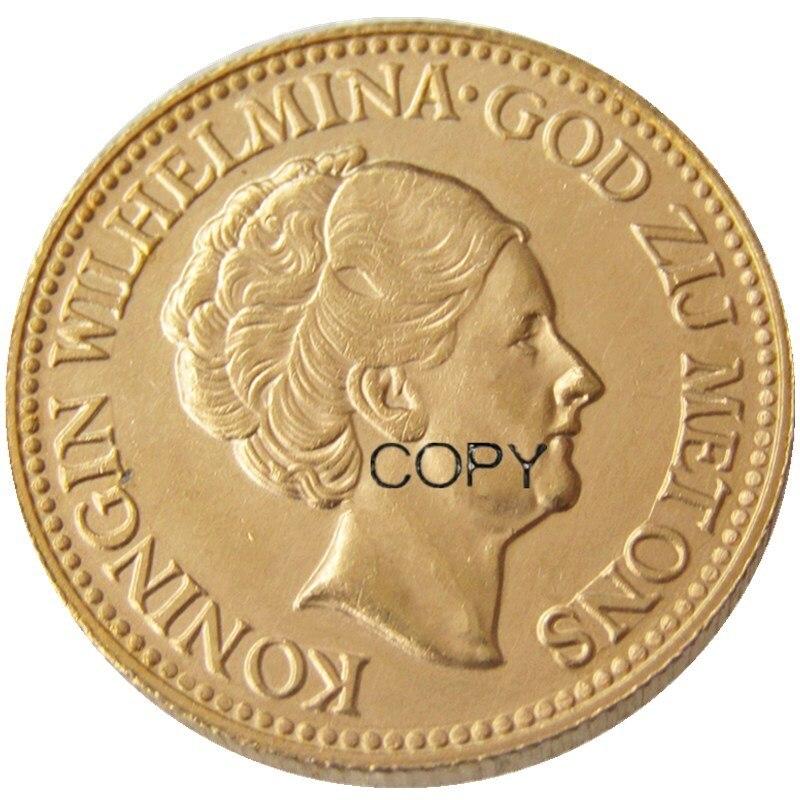 Nos países baixos, UM Conjunto De (1925-1933) 5pcs Wilhelmina I, 10 Gulden Banhados A Ouro Copiar Moeda de Decoração