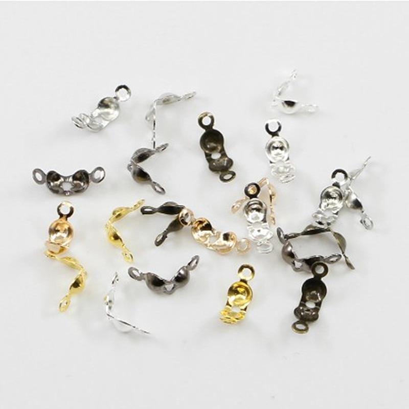 200 unids/lote conector de cierre de 4*7mm Cadena de bola Calotte extremo plegadores perlas conector componentes para DIY fabricació