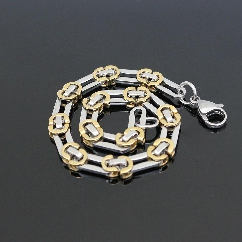 New Arrivals Women Gold&Steel Color Chain Bracelet 21.50CM Stainless Steel Chain & Link Bracelet Bangle Men Fashion Jewelry
