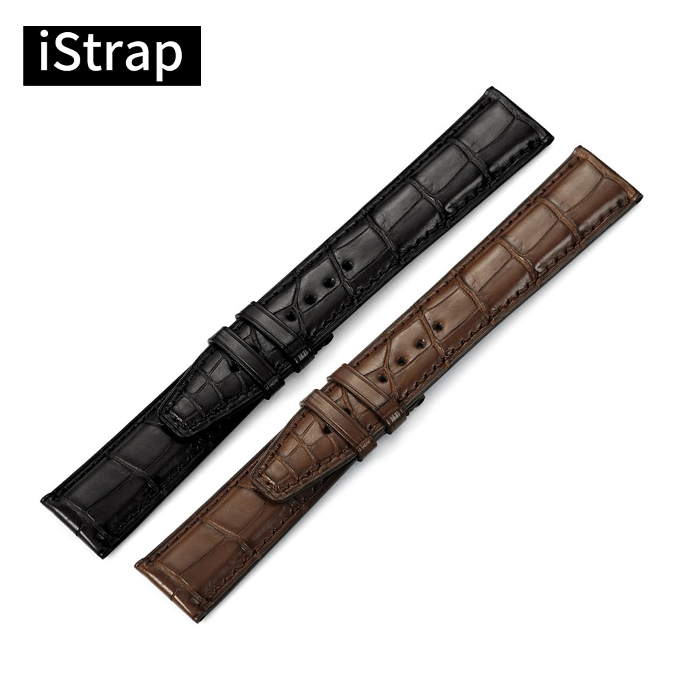 iStrap 20mm 21mm 22mm Black Brown High Quality Watchband Crocodile Leather Watch Strap Replacement Watch Band For IWC