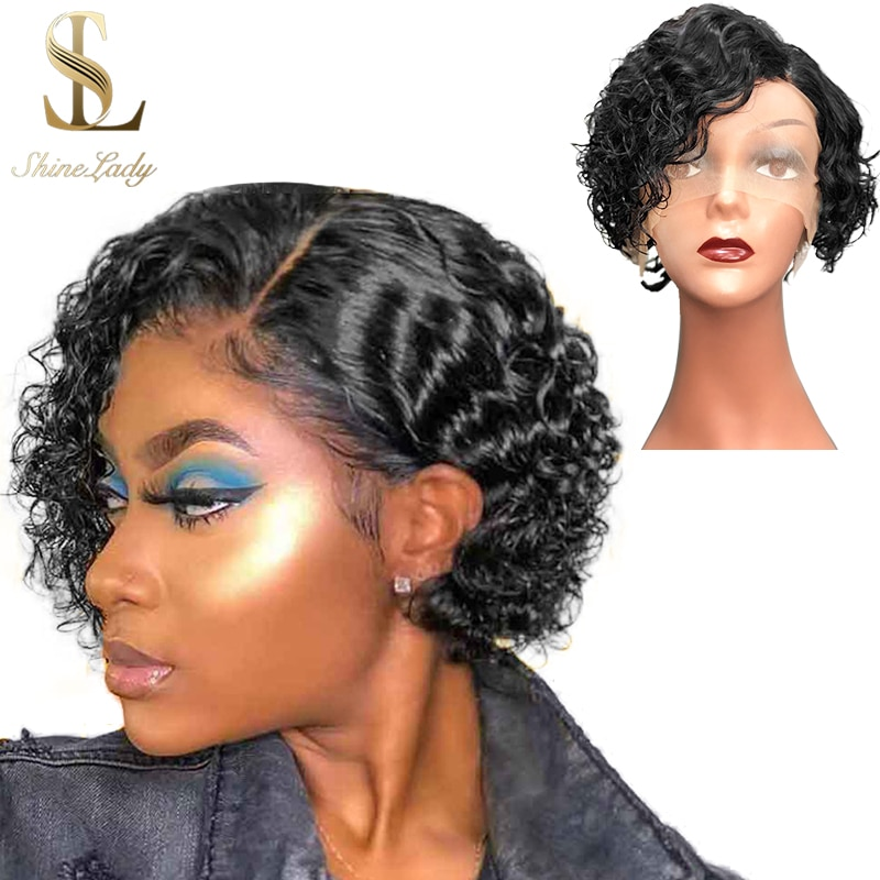 Shorts Bob Wigs Human Hair Side Part Lace Wet And Wavy Wig Human Hair 8 Inch Brazilian Remy Curly Short Hair For Black Women