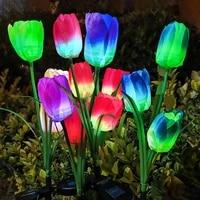 solar light led tulip lawn light 3 tulip outdoor waterproof park garden lawn path landscape lighting decoration solar lamp