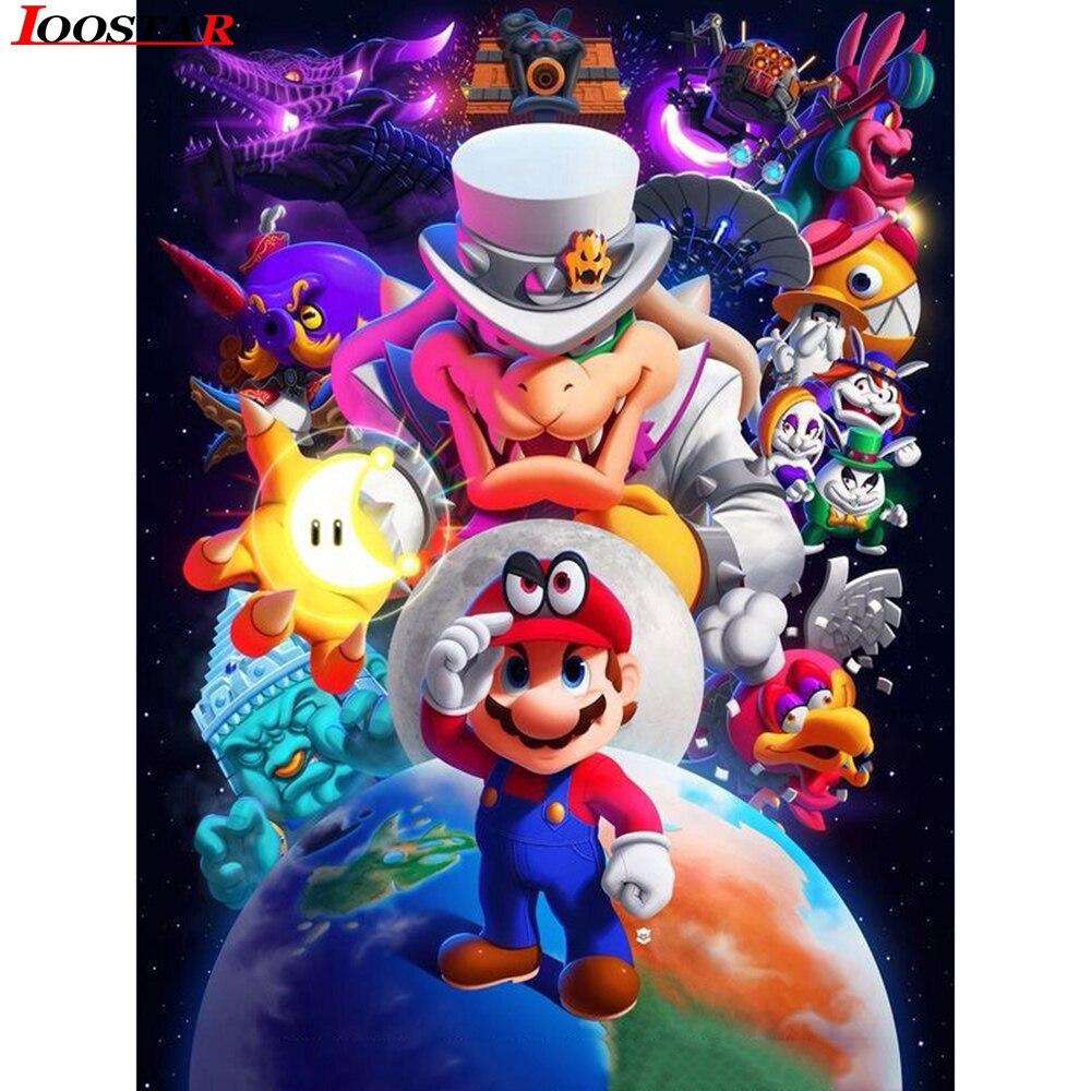 5D Diy diamante pintura Cruz con motivos animados completos Mario de cristal foto de costura bordado diamante cuadrado Kits para hacer mosaicos