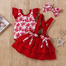 3pcs Baby Girl's Clothes Set Newborn Baby Girl Ruffle Floral Print Romper Suspender Skirts Set Out